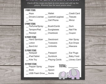 Purple Elephant Baby Shower Whats in Your Purse Baby Shower Game - Purple and Grey Baby Shower Games - Activities - Baby-105