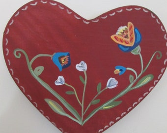 Heart plaque. Meaningful Wedding gift. Personalized for  Wedding, Anniversary. Pennsylvania Dutch German.  Special, signed Folk Art gift.