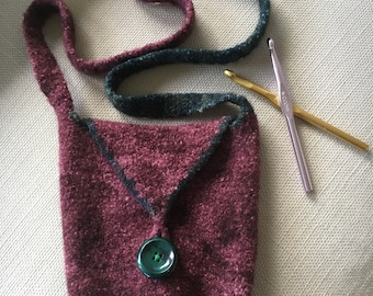 Maroon and green felted purse