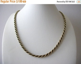 ON SALE Vintage Elegant Gold Black Rope Necklace 91416