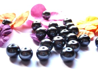 5 10 mm dark gray glass pearls