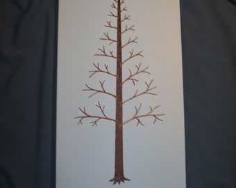 Wedding Guest Fingerprint Tree - Thumbprint Tree - Hand Painted on Canvas- 50 Guests