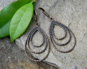 Copper teardrop dangle earrings triple copper hoops