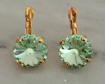 Chrysolite Swarovski Crystal Earrings, Yellow Gold