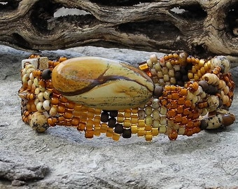 Jewelry - Free Form Peyote Stitch Beaded Bracelet  - Bead Weaving - Picture Jasper  BOHO