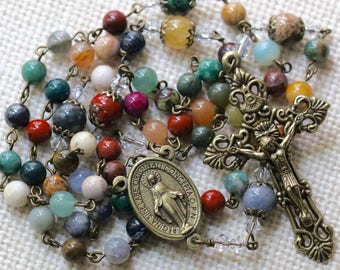 Catholic Gemstone Rosary in Bronze
