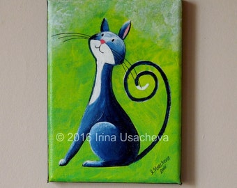 "Original Painting for Sale : Fantasy Cat  ""Inquisitive Cat in Deep-Blue"" , acrylic"