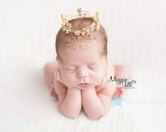 Baby Crown headband, gold crown, princess crown, rhinestone crown, infant crown headband, newborn crown headband, photo prop, infant tiara