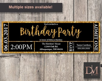 Black and Gold Faux Glitter Birthday Party Invitation (Printable)