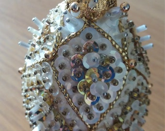 Vintage Jewelled egg on lovely gold stand