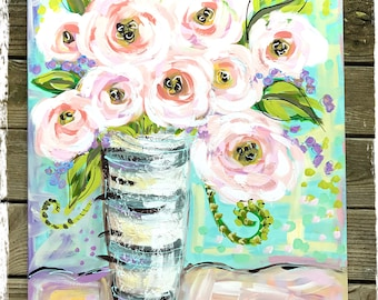 """Large Pink Peonies Abstract Still Life Painting 24"""" x 30"""" Ready to Ship YelliKelli"""