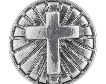 1 PC - 18MM Cross Silver Charm for Candy Snap Jewelry Limited Edition CC2195