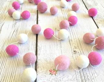 Felt Ball Garland - Pink - Baby - Gender Reveal - Wedding Pom Pom Garland - Girl's Room - Pastel- Nursery -  Party Garland - Photo Shoot