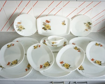 Pyrex JAJ 'Autumn Glory' - Serving Platter, 10 Steak Plates, Gravy Boat and Saucer, 2 Round Dinner Plates