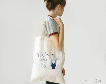 "Girl Tote bag ""One life..."" screen printed, organic canvas tote, illustration"
