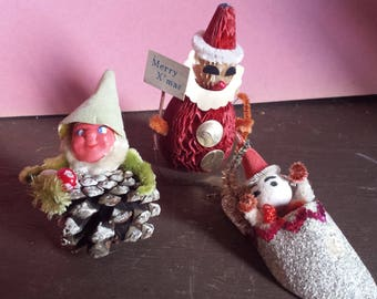 Vintage Christmas decorations, ornaments, pinecone, elf