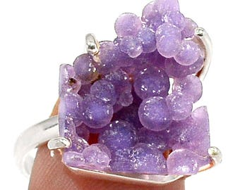 Rare Grape Chalcedony Sterling Silver Ring  s.7