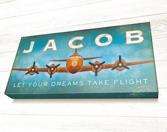 Personalized, Airplane Wall Art, Airplane Sign, Airplane Decor, READY TO HANG Canvas Gallery Wrap, Let your Dreams Take Flight