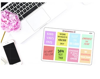 014 - Motivational Quote / Encouragement Sticker Sheet #2 for Erin Condren, Plum Paper Planner, Filofax, and other small planners