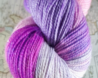Flying Purple People Eater - Hand Dyed Merino Sparkle Sock 4ply
