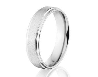 Cobalt Chrome Rings, USA Made Cobalt Rings, Cobalt Wedding Band: CB-5RC-ST