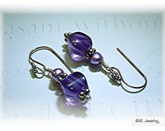 Amethyst Earrings, Amethyst and Pearl Earrings, Mothers Day Gift, Purple Amethyst Earrings E0902-03