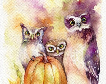 PRINT – Welcome Halloween Watercolor painting 7.5 x 11""