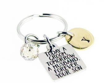Mother of the Groom Gift - Wedding Day Hand Stamped Key Chain - Personalized Zipper Charm - Mother Son Gifts - Key Ring Charm