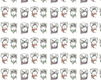 Kids Fabric Decor, Fabric Quarter, Whimsical Fabric Design, Three Animal Hats Fabric Fat Quarter