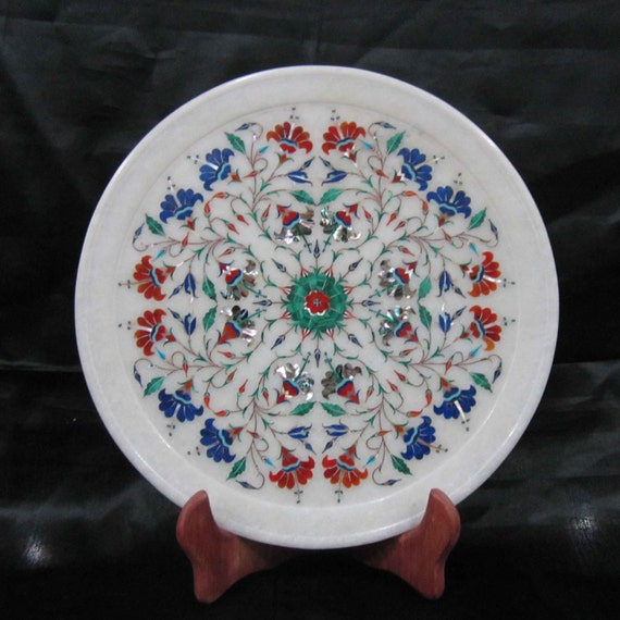 Wall Plates Fine White Marble Inlay Floral Design Intricate