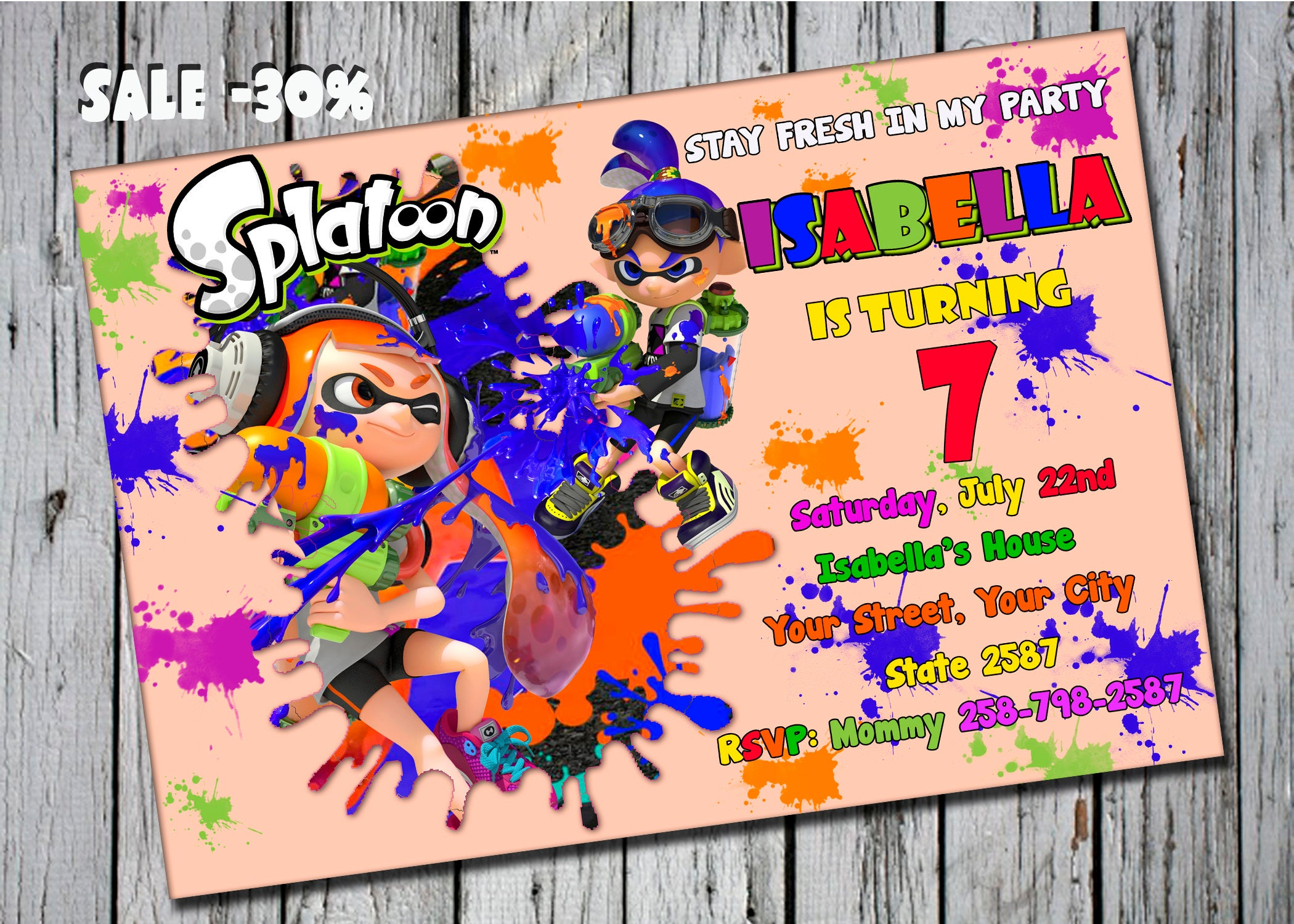 Splatoon party splatoon birthday invitation splatoon description splatoon birthday invitation monicamarmolfo Images
