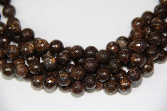"""Bronzite 10mm faceted round beads 16"""" length strand"""