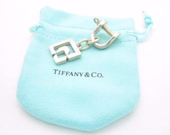 Vintage Tiffany & Co. Sterling Silver Shackle Key Ring with Pouch