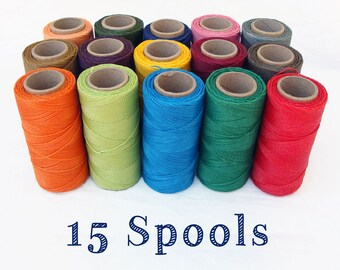 15 Spools Of Your Choice of Waxed Polyester Cord for Macrame Linhasita Wholesale Bulk