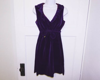 Vintage 60s royal deep purple velvet empire waist mini dress