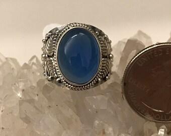 Beautiful Blue Chalcedony  Ring, Size 8
