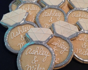 Engagement Ring Cookies SILVER OR GOLD-1 Dozen  ***Minimum 2 Weeks for Delivery***