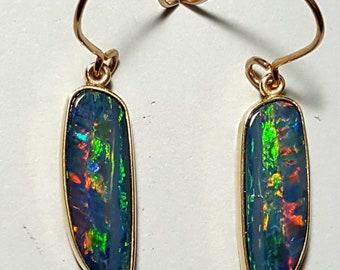 Australian opal earrings in 9ct. gold