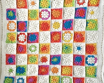 Colorful Granny Square Baby Blanket- Ready To Ship- 34x34- Crocheted Afghan- Boy or Girl- Red, Yellow, Blue, Green, White