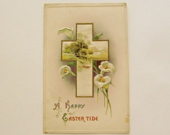 Antique Easter postcard scenic Cross with cottage pond scene calla lillies