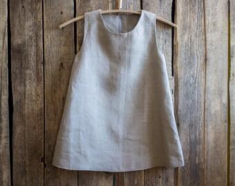 Handmade girls dress, Flower Girl, Clothing, Gray Linen, Linenislove, Girls dress, Natural color dress, Linen dress, Country Dress,
