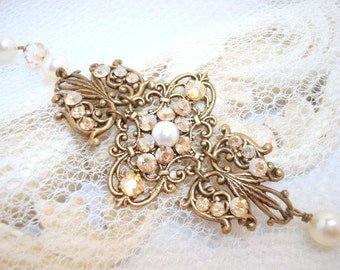 Bridal bracelet, Antique gold bracelet, Bridal jewelry, Cuff bracelet, Swarovski bracelet, Filigree bracelet, Wedding jewelry, Vintage style
