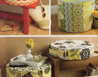 Free Us Ship Butterick 6073 Sewing Pattern Lined Basket Cushion Ottoman Furniture New Home Decor Uncut Out of Print Waverly 2014