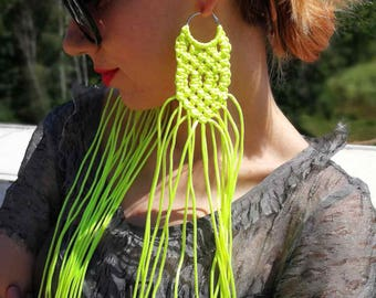 FREE SHIPPING / Extravagant Macrame Earrings / Party Earrings / Huge Earrings / Extra Large Earrings by FabraModaStudio / A925