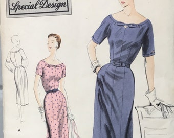 vintage Vogue S-4314 pattern, size 14, bust 32, hip 35, women's dress, 1952, sewing pattern condé nast publication