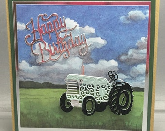 Very Pale Green Tractor In The Fields on the Farm Birthday Card