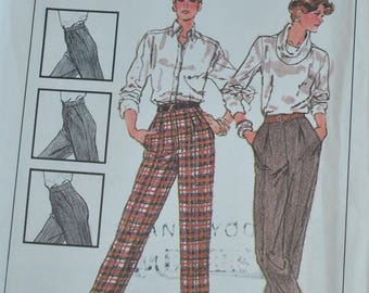 """Vintage 1980s Simplicity 7584 Sewing Pattern Fitted Front Pleated Pants Size 10 Waist 25"""""""