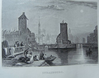Engraving. Strasbourg. Alsace. France. Published by while in Paris (France). Engraving of the 19th century. (1819-1859)