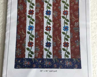 Climbing Vines Floral Wall Quilt Sewing Pattern  UC FF Uncut Quilting Wallhanging 28 x 36""