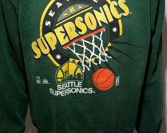 90's Seattle Supersonics - NBA basketball Gary Payton Shawn Kemp Nate McMillan green long sleeve pullover jumper sweatshirt - men's L